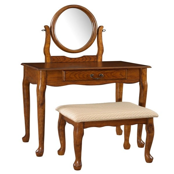 Powell Woodland Oak Vanity, mirror and Bench