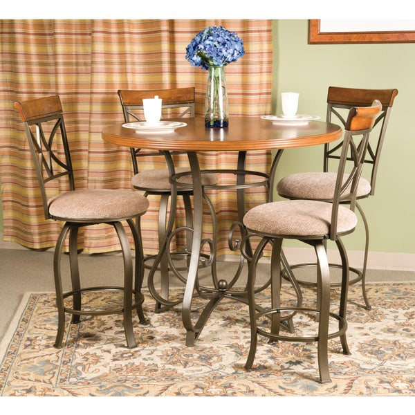 Powell 5-Pc. Hamilton Gathering Set - (1) 697-441 Gathering Table and (4) 697-726 Swivel Counter Stool