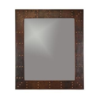 Hand-hammered Rectangle Copper Mirror with Hand-forged Rivets