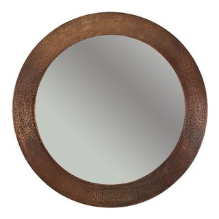 Hand-hammered Round Copper Mirror