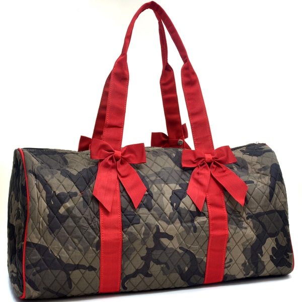 Camo Print Large Quilted Duffel Bag with Bow Decor