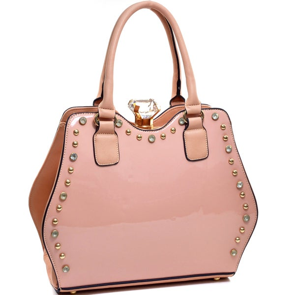 Dasein Jewel-top Rhinestone Studded Patent Purse