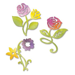 Sizzix Sizzlits Sunrise Blossoms Flower Die Set by Scrappy Cat (3 Pack)
