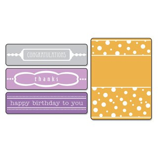 Sizzix Textured Impressions Birthday, Congrats & Thanks Embossing Folders Set by Eileen Hull (4 Pack)
