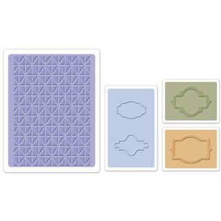 Sizzix Textured Impressions Jar Labels Embossing Folders Set by Eileen Hull (4 Pack)