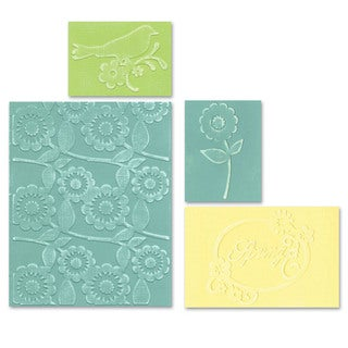 Sizzix Textured Impressions Spring Bird & Flowers Embossing Folders Set by Scrappy Cat (4 Pack)
