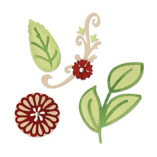 Sizzix Sizzlits Floral Botanical Die Set Scrappy Cat (3-pack)