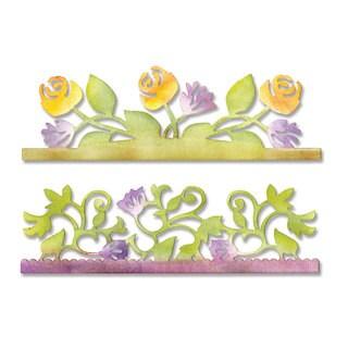 Sizzix Sizzlits Card Edges, Botanical & Rose Garden Decorative Strip Die by Scrappy Cat