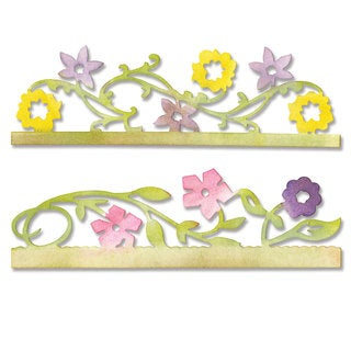 Sizzix Sizzlits Card Edges, Flower Vines Decorative Strip Die by Scrappy Cat