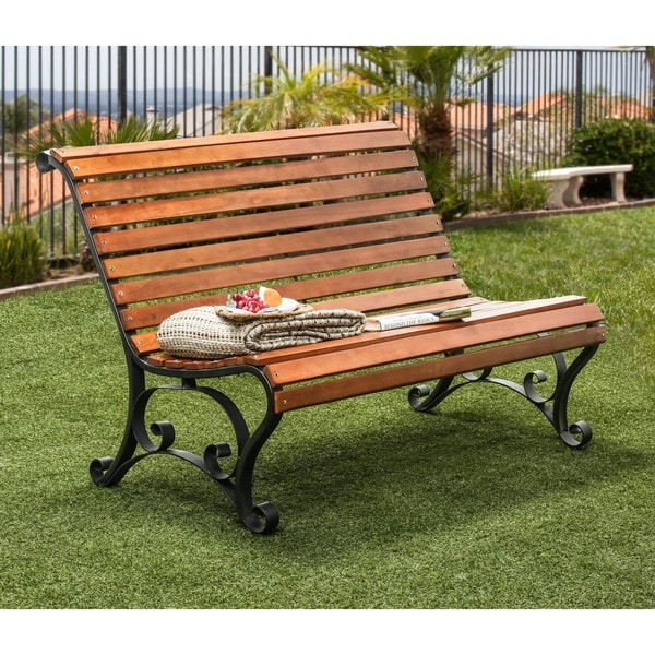 Furniture of america gently curved natural oak outdoor bench 16597364 shopping - Garden furniture deals ...