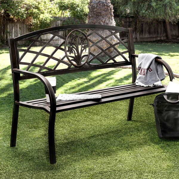 Furniture of America Narcissus Black Iron Outdoor Bench