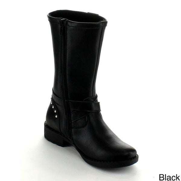 Betani Elisa-2 Kid Girl'S Studded Buckle Side Zipper Flat Riding Knee High Boot