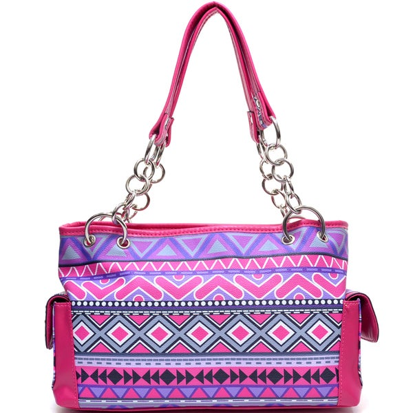 Dasein Tribal Print Chain-handle Shoulder Bag