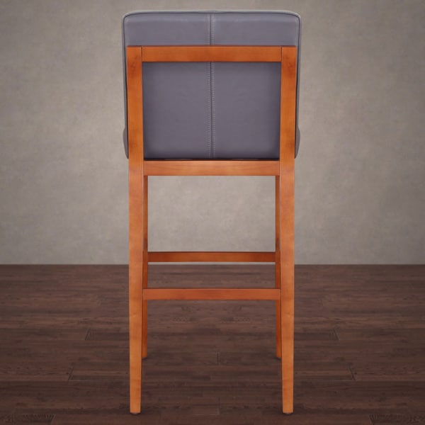 Bobby Modern Dark Grey Leather Barstool