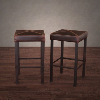 Antique Steel Vintage Tobacco Leather Counter Stool (Set of 2)