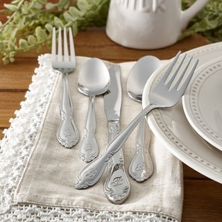 RiverRidge Personalized Stainless Steel Rose 46-piece Flatware Set
