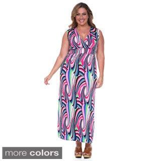 White Mark Women's Plus Size Pop-of-Color Maxi Dress