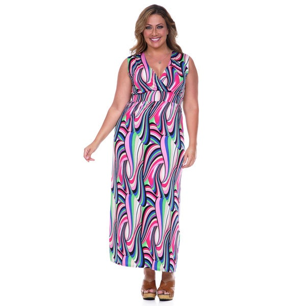 White Mark Women's Plus Size Pop-of-Color Maxi Dress