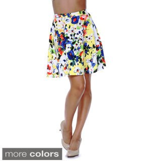 White Mark Women's Flower Fusion Flared Skirt
