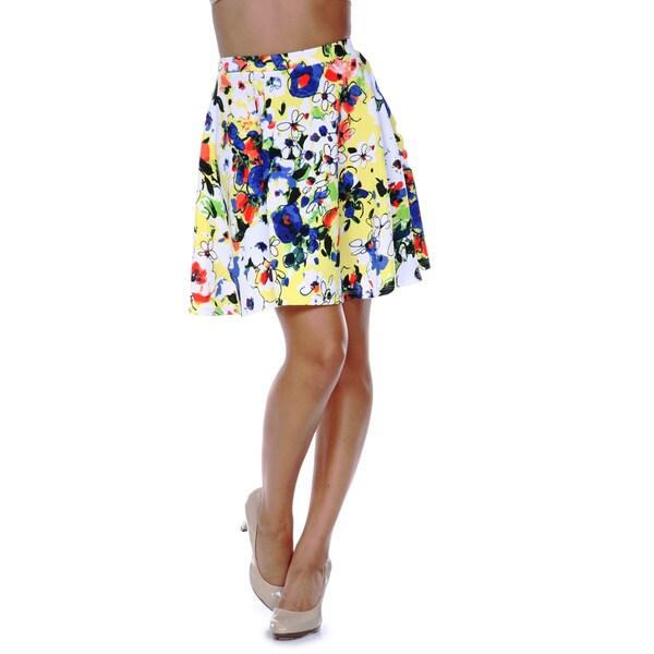 White Mark Women's Flower Fusion Flared Skirt 13907245