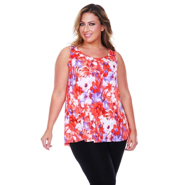 White Mark Women's Plus Size Floral Tank Top