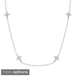 Sterling Silver Cubic Zirconia Cross Chain Necklace