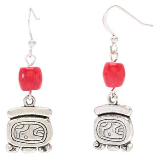 Red Coral Earrings with Mayan Alphabet Charms (Guatemala)