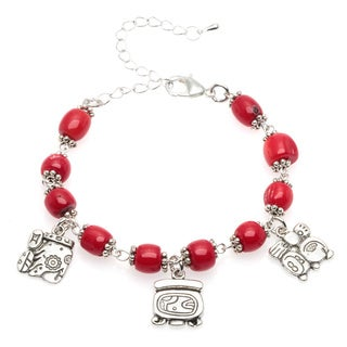 Red Coral Bracelet with Mayan Charms (Guatemala)