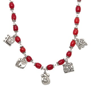 Red Coral Necklace with Mayan Alphabet Charms (Guatemala)