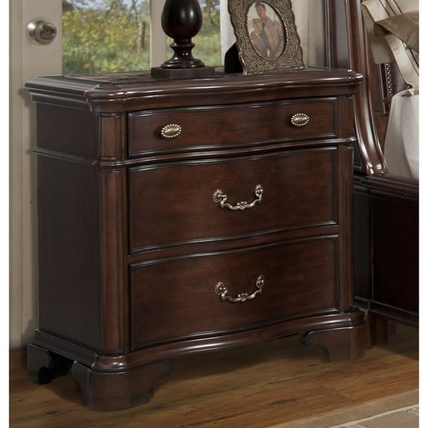 Trento Cherry 3-drawer Nightstand with Marble Inset Top