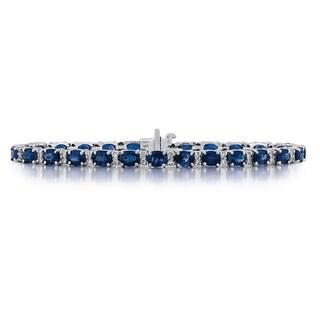 14k White Gold 3/4ct TDW Diamond and Sapphire Bracelet (G-H, SI1-SI2)