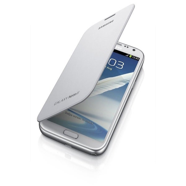 Samsung Galaxy Note 2 Flip Marble White Cover Case