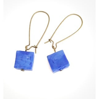 Pretty Little Style Brass Blue Bead Dangle Earrings