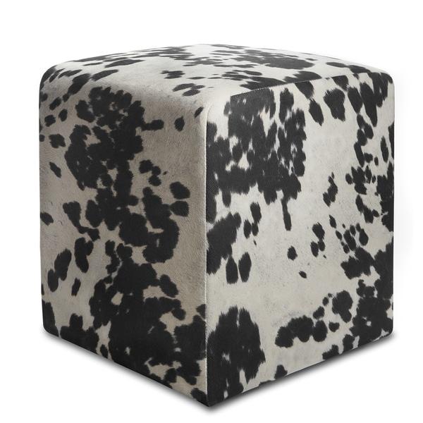 Black & White Cowprint Textured Velvet Square Ottoman