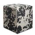Black & White Cowprint Textured Velvet Square Ottoman