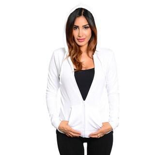 Stanzino Women's Solid White Basic Hoodie