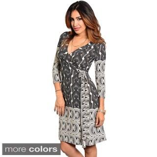 Stanzino Women's Geometric Print Knee-length Wrap Dress