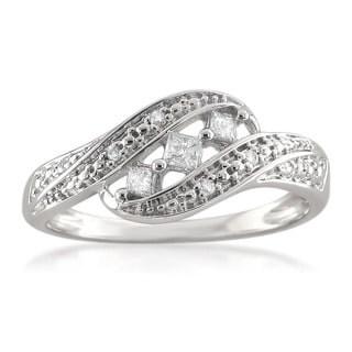 14k White Gold 1/5ct TDW Princess-cut Diamond Ring (H-I, I1)