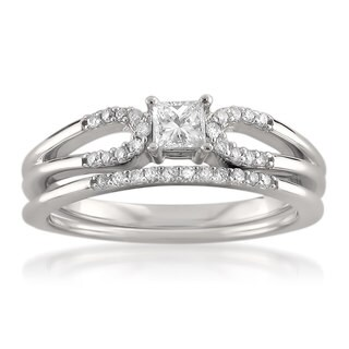14k White Gold 3/8ct TDW Princess-cut Bridal Ring Set (H-I, I1)