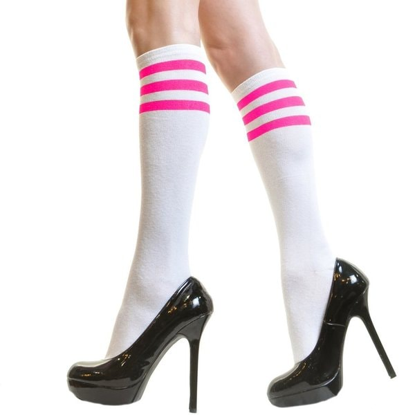 White Referee Knee-high Socks with Colored Stripes (One size)