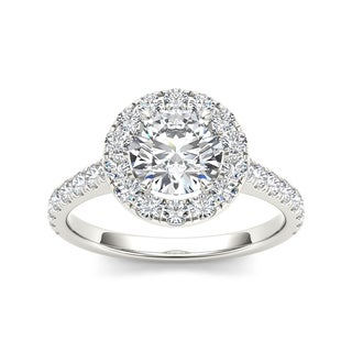 De Couer 14k White Gold 1 1/2ct TDW Diamond Halo Engagement Ring (H-I, I2)