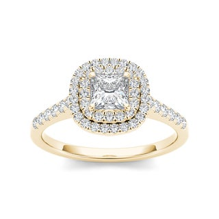 De Couer 14k Yellow Gold 1 1/10ct TDW Diamond Double Halo Engagement Ring (H-I, I2)