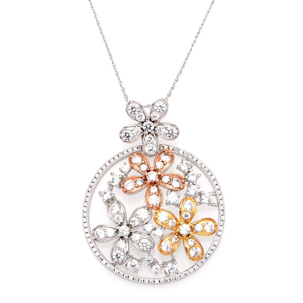 Sterling Silver Cubic Zirconia Floral Pendant with Chain