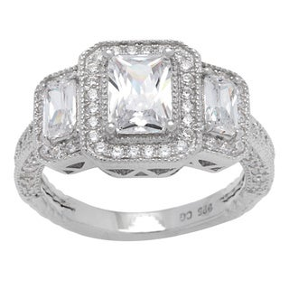 Sterling Silver Three Emerald-cut Vintage-style Cubic Zirconia Halo Ring
