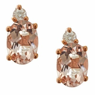 D'yach 10k Rose Gold Morganite and 1/10ct TDW White Diamond Earrings (G-H, I1-I2)