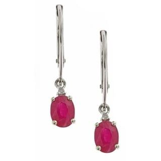 D'yach 14k White Gold Ruby White Diamond Accent Fashion Earrings
