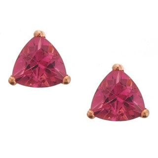 D'yach 14k Rose Gold Pink Tourmaline Stud Earrings