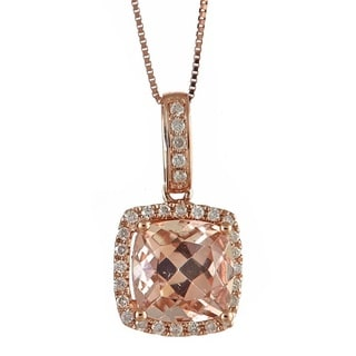 Anika and August 14k Rose Gold Cushion-cut Morganite 1/5ct TDW White Diamond Pendant Necklace (G-H, I1-I2)