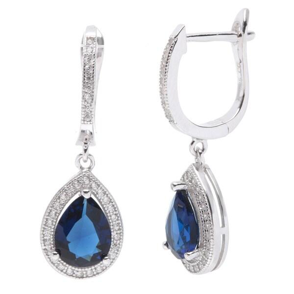 Sterling Silver Navy Blue Clue Zirconia Earrings