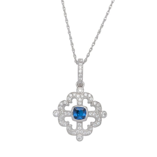 Sterling Silver Square-cut Blue Cubic Zirconia Pendant Chain Necklace